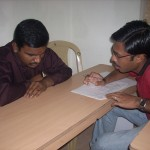 Shameer conducting the pre test