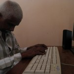 An aged participant learning computer