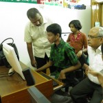 Dr. Srivastava studying the facilities in the activity lab